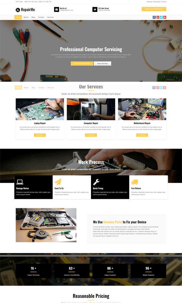 repair website template